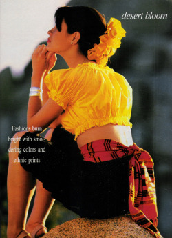 "justseventeen:   June 1988. ""Fashions burn bright with smoldering colors and ethnic prints."""