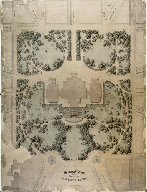 wallacegardens:  Olmstead's 1874 landscape design plan for the United States Capitol, was a 15-year installation project.Olmstead on his life and work: The most interesting general fact of my life seems to me to be that it was not as a gardener, a florist, a botanist, or one in any way specially interested in plants and flowers, or specially susceptible to their beauty, that I was drawn to my work. The root of all my work has been an early respect for and enjoyment of scenery, and extraordinary opportunities for cultivating susceptibility to its power. I mean not so much grand or sensational scenery as scenery of a more domestic order — scenery which is to be looked upon contemplatively and is producing of musing moods.