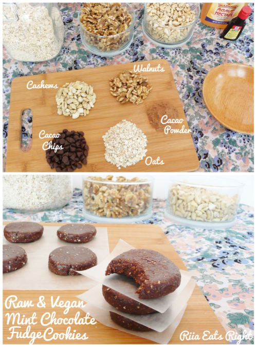 riiaeatsright:  Updated my photos! :) Riia's Raw Vegan Mint Chocolate Fudge Cookies These cookies were inspired by Girl Scout Thin Mints! They have a fudge like consistency but I find that it makes the flavor richer! Hope you enjoy! Ingredients:  1/4 cup Cashews  1/4 cup Walnuts  1/4 cup Oats  1/4 cup Chocolate chips (any type…semi sweet, carob, cacao, etc)  1/8 cup Cacao powder  2 tbsp Agave nectar  1 tsp Peppermint Extract How To:  In a food processor, blend together cashews, walnuts, oats, and chocolate chips until they form a floury texture. Add in cacao powder, agave nectar, and peppermint extract. Process again until dough forms. Shape batter into cookie or truffle shape. Refridgerate. Enjoy! :)