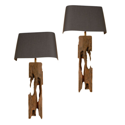 20th Century.  Belgian Midi Sconces. Reclaimed timber sconces from old railroad sleepers.