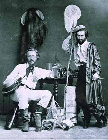 Ernst Haeckel (left) with fellow field biologist, Nicholi von Miclucho-Maclay. Canary Islands, 1866.