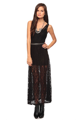 At the aquarium Ivy wears this floor length black lace dress from Forever 21 with her little cropped leather jacket.