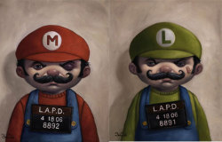 "'Arts-4-Geeks' of the day!  Mario and Luigi got arrested  ""These two paintings depicting Mario and Luigi from ""Super Mario Bros."" Are called ""Rough Night Out"" and ""Rougher Night Out"", respectively. They're by artist Bob Dob, who seeks to give his woesome bad-boy characters a sardonic aura of humor and pain."""