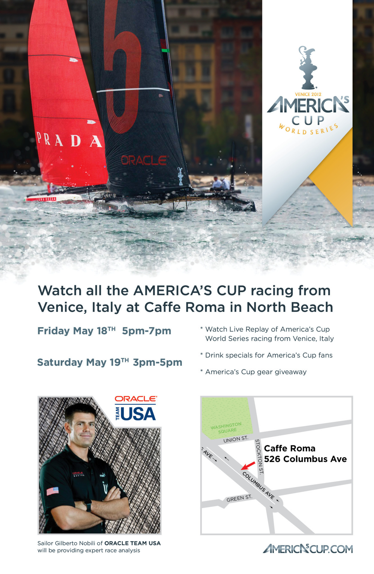 Watch all the America's Cup @racing from Venice, Italy at Caffe Roma in in North Beach.  Mary 18 -19  #ACWSVenice