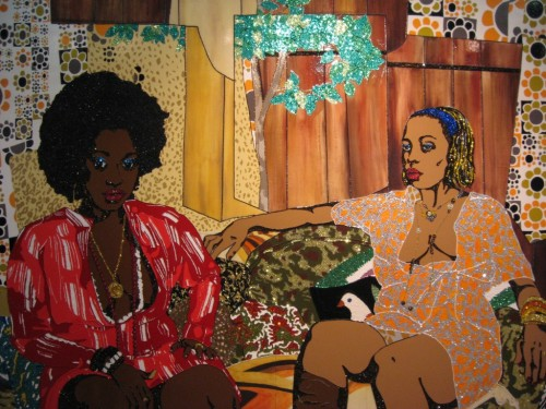 Mickalene Thomas Just a whisper away, 2008 Acrylic, rhinestone, and enamel