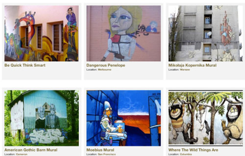 Mural Locator is a site for discovering murals around the world. Users can find murals on the Mural Locator map, or browse the site's growing archive. Currently 76 murals are identified in Philadelphia. (Of course, it's 76.) Do you think that's all of them in and near the city? I wouldn't bet on it. Check out the map and add the ones that are missing. laughingsquid:  Mural Locator, A Worldwide Database of Murals