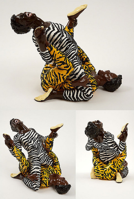 Mickalene Thomas Brawlin' Spitfire Wrestlers 2007 resin, paint and Swaroviski crystals 10 x 14 x 9.75 inches