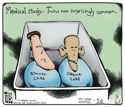 "Comic credit Tom Toles / Washington Post. The right-wing continues to be hysterical about ""Obamacare"", leading to what may be the longest book title of all time."