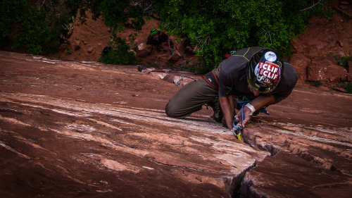 clip! (leading Cherry Crack in Zion NP, on day 111. We've climbed the height of Everest plus a few feet—29,068ft…and counting!) www.livingvertical.org