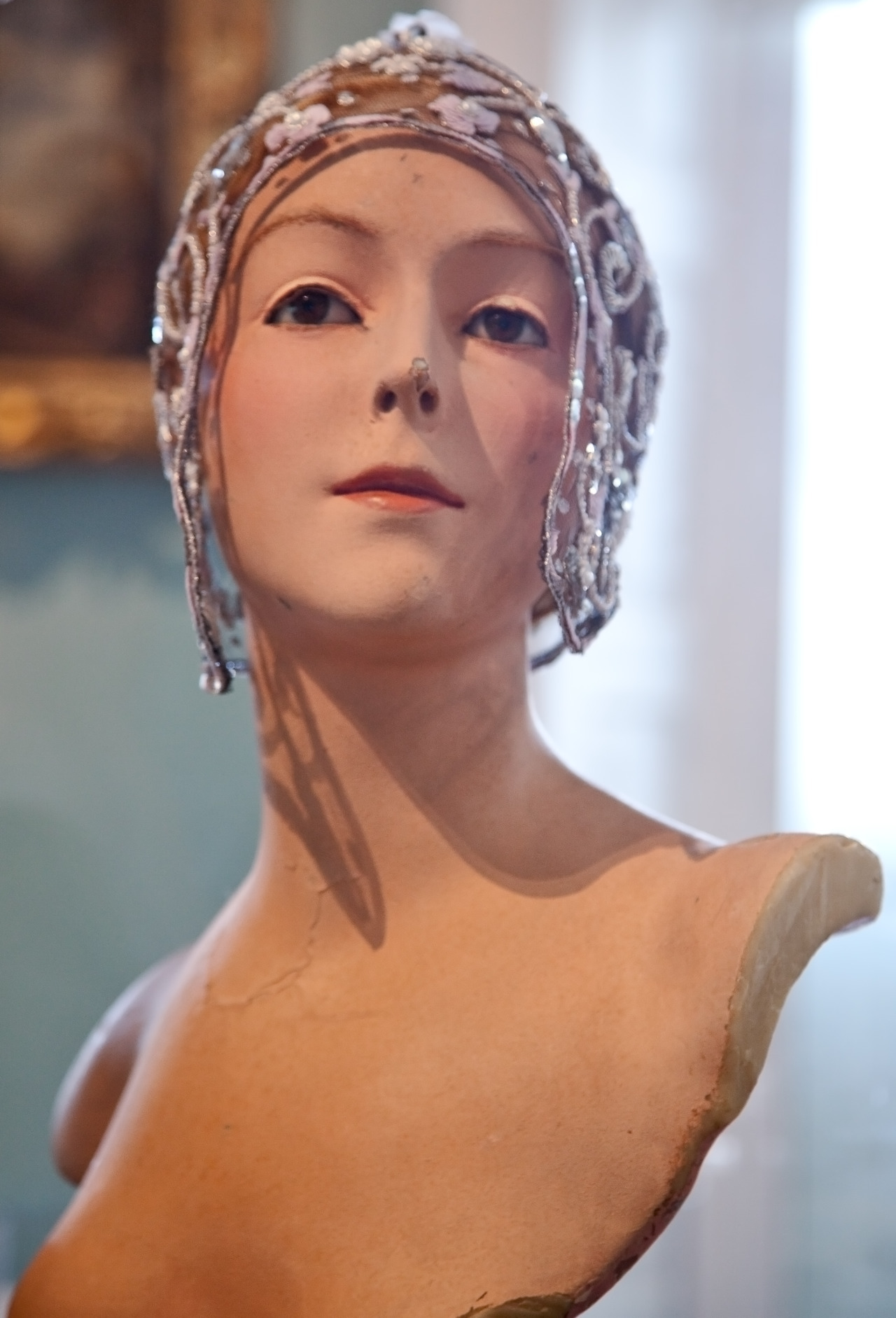 Hats by Stephen Jones adorn vintage wax mannequins from Paris. On show at the Holbourne Museum, Bath. Photography Geoff Dunlop