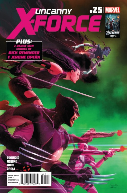 Uncanny X-Force #25, July 2012, written by Rick Remender, penciled by Mike McKone