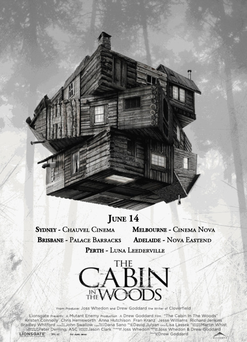 Cabin In The Woods fans, Last week we were delighted to secure limited seasons in Sydney and Melbourne for you to see the film.  Since then we have been working hard to add in locations in the other states. We are now very excited to confirm that you'll be able to see the movie at Palace Barracks in QLD, Nova Eastend in SA, and Luna Leederville in WA. Some sites are already on sale so check their websites for booking details!  Thanks again for your patience and posts of support. Enjoy, Roadshow Films.