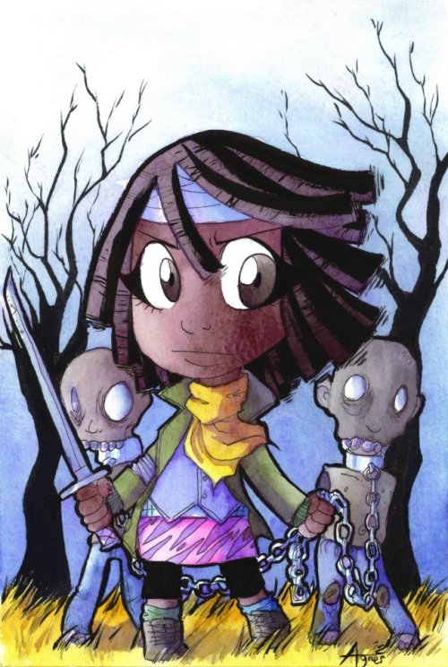 Michonne from The Walking Dead. Based on the cover for The Walking Dead #19. This awesome commission belongs to Jason.  I am a huge Walking Dead fan. If you know me, you know I love zombies. Michonne is also the coolest character ever!!