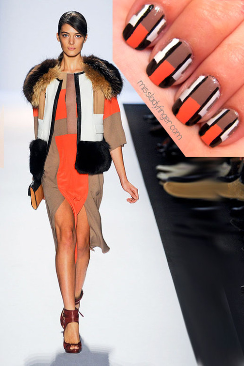MANICURE MUSE: BCBG Max Azria AW'12   For the past few seasons, it has been clear that BCBG Max Azria hasn't been able to shake their love for color-blocking (not that I'm complaining). For Fall '12, they nod to the Bauhaus movement for inspiration. Even if you didn't pay attention in Design History: 101, you'd still be able to figure out that it's all about simplified forms and functionality as seen with the slew of color-blocked dresses in lean silhouettes. It's the touch of added luxury that makes this season a standout. Fur was strategically patchworked into unexpected places like shoulder tops and down sleeves. This is one of my favorite looks from the show. Both the vest and the dress are each eye candy on their own, but together are total power players.   To emulate this look, I used Greyt Expectations and I Will! by L'Oreal, Trout Pout by Butter and Black by Color Club.   To get these ladyfingers:  1. Paint your full nail taupe 2. Divide your nail in half (you can use tape if you need a guide) and paint the bottom half pink 3. Once dry, paint a white stripe on either side of your nail 4. Using a nail art brush, paint a line of black along the edge of the white 5. Paint the bottom white portions black with an even thick horizontal line 6. With a very fine paint brush, paint small taupe rectangles on each side of the top part of the white stripe (optional) 7. Top it off with top coat