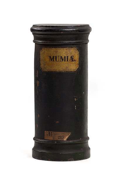 "midnight-gallery:  An apothecary vessel inscribed ""MUMIÆ"" once contained powdered mummy.  Mumia (or mummia) was 1st prepared in the 12th c., was in common use by the 15th c., and reached great popularity by the 17th c. ""Mummy is become merchandise, Mizraim cures wounds, and Pharaoh is sold for balsams,"" wrote Sir Thomas Browne in 1841. Mummy powder was in such demand that the supply of ancient Egyptians slowed and contemporary corpses were substituted. Mumia was still available as recently as the early 20th c.  This curious medicine was used topically and orally to treat various ailments such as gout, bruising, migranes, epilepsy and internal bleeding."