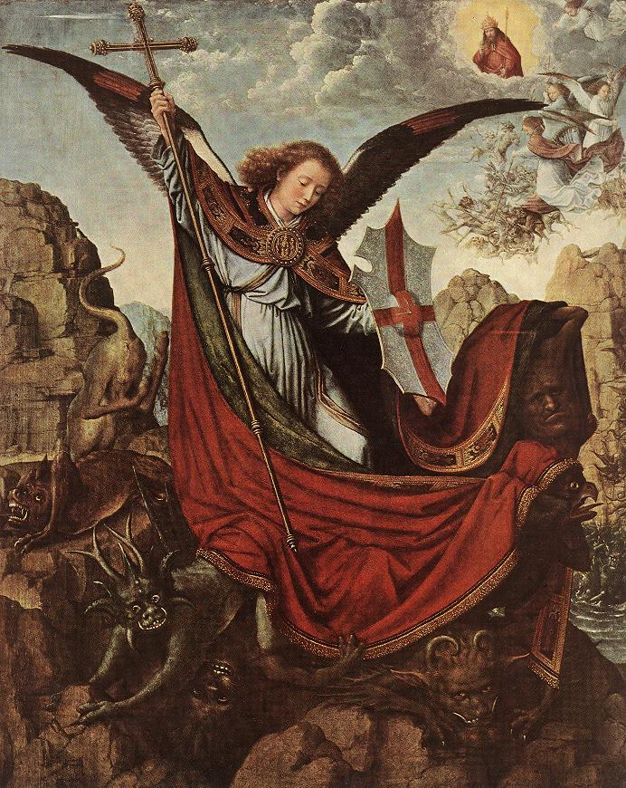 altarpiece of st. michael. gerard david. oil on wood, 66 x 53 cm