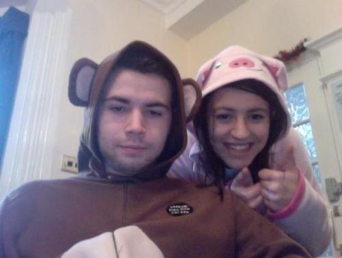 New years day as a monkey, with my little sister. As requested ^.^