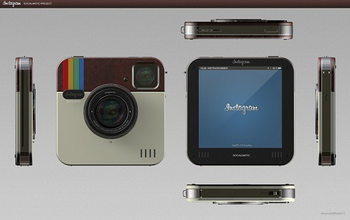 Concept Design Of Physical 'Instagram' CameraDesign and communication company ADR Studio has created a concept design of a realistic camera based on the popular photo app. Called 'Instagram Socialmatic', it is a flat touch screen camera with a built in printer and 16GB of storage capacity.
