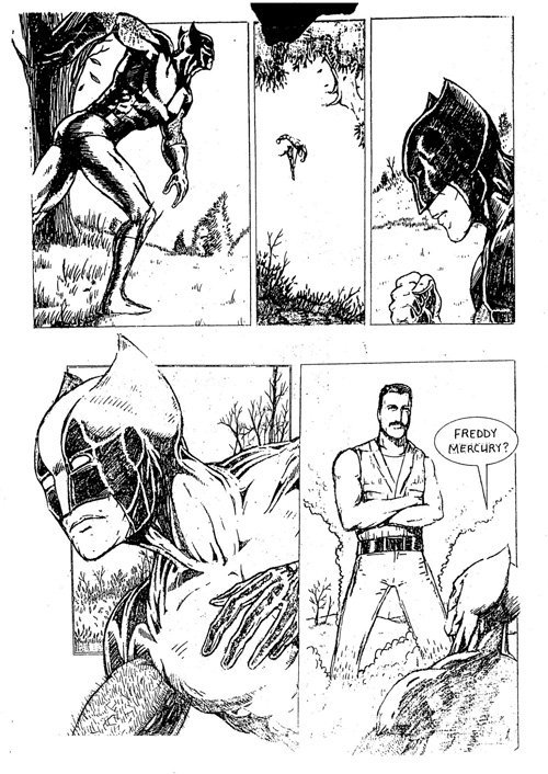 "Sunday morning comics: When Wolverine met Freddie Mercury According to Colleen Coover, this page was done by ""an unknown hopeful,"" and preserved for posterity by the Marvel Bullpen's Steve Bunche and Darren Auck. Unfortunately, that's all that's known about the original creator — although I have a sneaking suspicion that this might be the work of a young Chris Haley — but I hope that he made it into comics. Via"