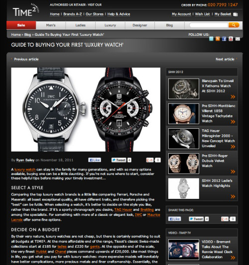 Time2 I write luxury watch reviews for UK watch retailer Time2. Check out my recent contributions here. Before it ceased publication, I was also Watch Editor of ICON magazine.