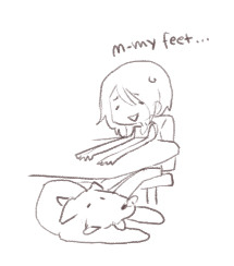 Doodle while Livestreaming, Me with my giant dog asleep on my now numb feet <3