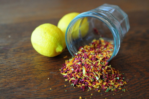 Raw sprinkles Ingredients:1 cup raspberries2 oranges, zested2 lemons, zested 2 limes, zestedDirections:Crumble the raspberries into pieces, and zest the lemons, limes, and oranges.  Mix everything together, and dehydrate for 6 to 8 hours on 118 degrees.  The raspberries should be completely dehydrated, with no moisture left.  Pour your mixture into a spice grinder, and pulse a couple times until you have small sprinkle sized pieces of fruit.  You're done!  My recipe makes a little under 1/2 a cup, or about 21 teaspoon sized servings.  If well dried, the sprinkles should keep in the cupboard for a couple of months.