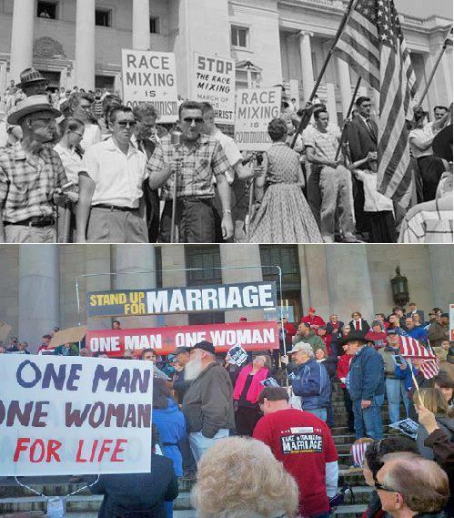 think-progress:  1957 Arkansas vs. 2012 North Carolina  And to think us talking to each other at all would be considered taboo in my parent's generation here in this country.
