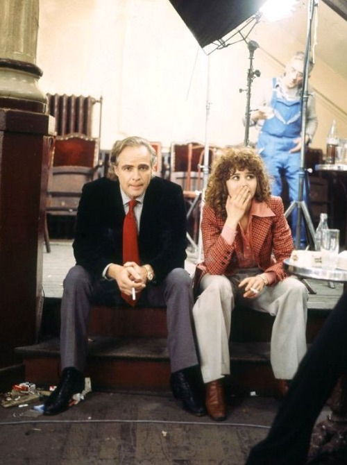 Marlon Brando and Maria Schneider on the set of 'Last Tango in Paris', 1972.