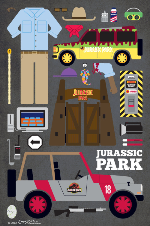 Jurassic Park Movie Parts Poster by Emma Butler