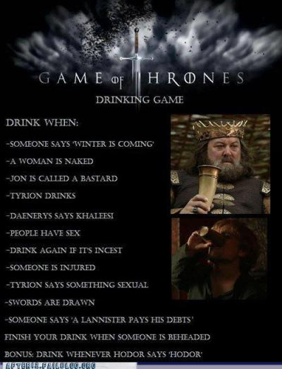girlgoesgrrr:  Game of Thrones drinking game.   Haha, this is Awesome!
