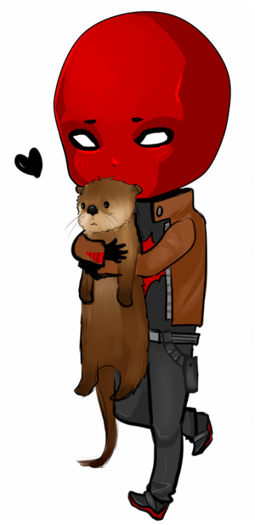 mikiku:  I was commissioned to draw Jason Todd hugging an otter and here it is~