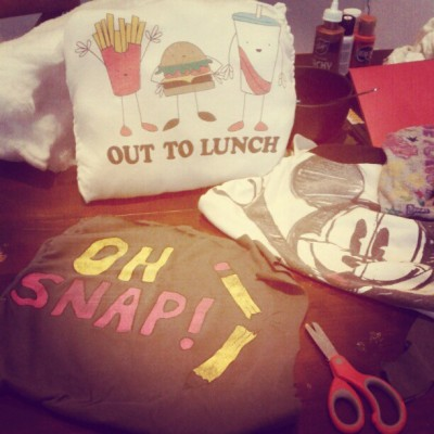 Sneak preview for the yard sale this sat. Tee pillows ;* (Taken with instagram)
