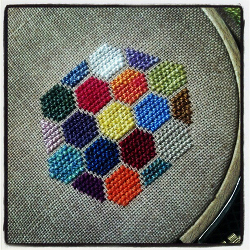 lovelyfibers:  Today's Stitched Hexipuff is a random assortment of my handspun thread stitched on 35 count Cocoa WDW linen #SHP #crafts (by SpunThread)