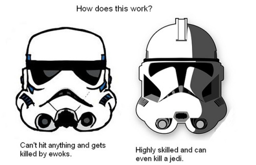 "Storm Troopers are not clone troopers. The first Storm Troopers were, yes.  Clone Troopers were highly skilled soldiers made from Jango's DNA, raised for the sole purpose of being a military force. Trained from ""birth"".  Storm Troopers are normal ass enlisted dudes that suck at everything. That's how it works."