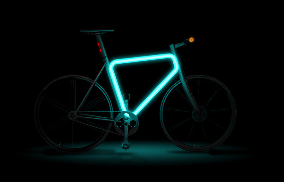 "Pulse Urban Bike Concept by Teague: Billed as ""a tribute to the triangle,"" Pulse pumps up the traditional two-wheeler thanks to its Tron-like illuminated center frame. This slick focal point, along with integrated LED tail lights and push-to-cancel turn-signal technology taken from motorcycles, also serves to keep cyclists safe when riding at night. (via Where Design Meets Technology Gallery - Porsche - The Atlantic)"