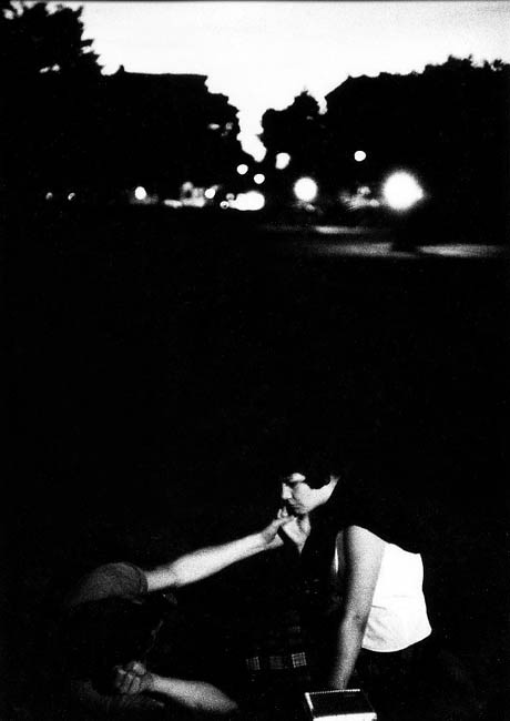 snowce:  Bruce Davidson,Couple with hands touching at dusk in the park, 1959