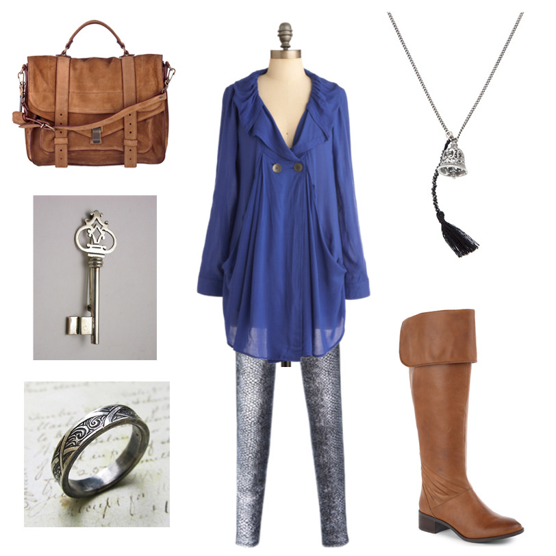"Outfit Inspired by Garth Nix's Sabriel ""She turned to the mirror and looked at her reflection, both pleased and troubled by what she saw. She looked competent, professional, a traveller who could look after herself. At the same time, she looked less like someone called Sabriel, and more like the Abhorsen, capital letter and all.""  Busy Week Tunic in Blue 