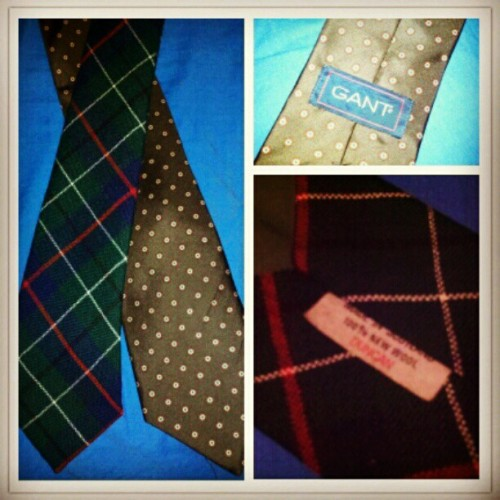 My thrifted finds today: vtg Gant silk brown foulard and wool Duncan tartan ties #menswear (Taken with instagram)