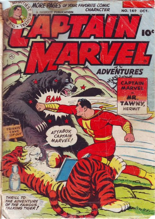 comicbookcovers:  Captain Marvel Adventures #149, October 1953, cover by CC Beck  Marvel Family Punches Things. Reblog.