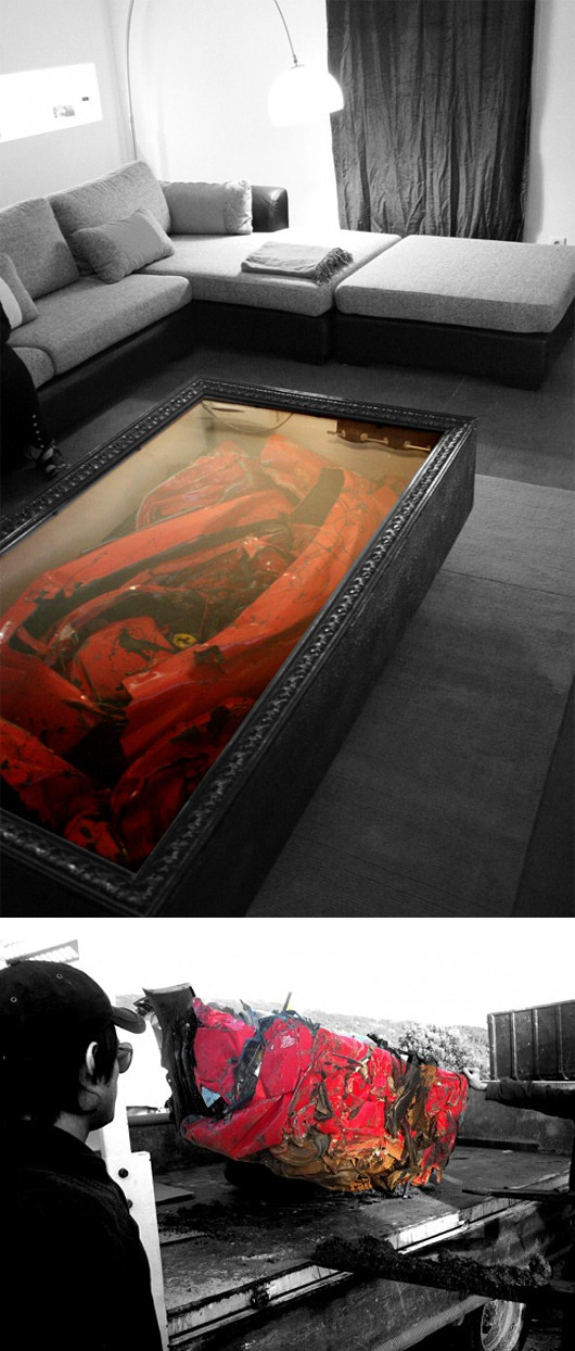 cosascool:  The Crashed Ferrari Coffee Table by Charly Molinelli  Soo downtown San Diego.