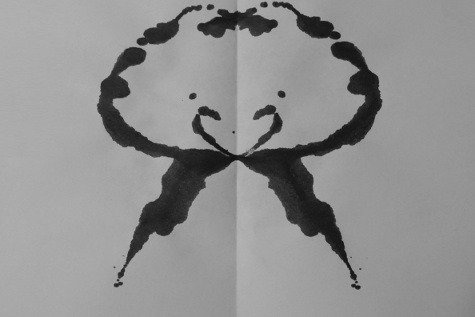joshdizzle:  hecatesdaughter:  trackerjackin:  inkblotoftheday:  Inkblot of the Day #98 Instructions: Tell me what you see. -Enjoy  I saw three things at once and have no idea which looks more like it. 1. a christmas wreath 2. two men dancing in a gazebo on the water. with bells above their head. maybe theyve just been married. 3. a smiley jellyfish.  a fluffy chick   A man's face. The little curvy lines are his nose and the two big dashes at the bottom are his mustache xD  A happy girl bubble, with legs.