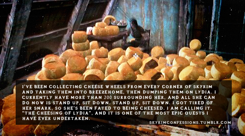 "super-d:  skyrimconfessions:  ""I've been collecting cheese wheels from every corner of Skyrim and taking them into Breezehome, then dumping them on Lydia. I currently have more than 200 surrounding her, and all she can do now is stand up, sit down. Stand up, sit down. I got tired of her snark, so she's been fated to being Cheesed. I am calling it, ""The Cheesing of Lydia"", and it is one of the most epic quests I have ever undertaken."" httpp://skyrimconfessions.tumblr.com  winning"