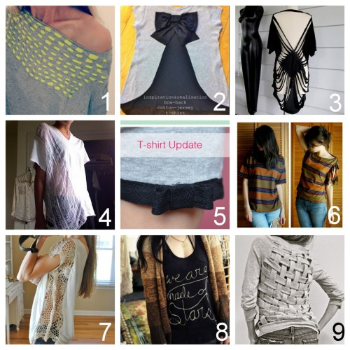 Roundup of Nine Easy DIY Tee Shirt Restyle Tutorials Part Two (by request):   DIY Woven Tee Shirt Restyle (Trash to Couture) here. DIY Red Valentino Bow Back Cotton Jersey T-Shirt (inspiration & realisation) here. DIY No Sew Bathing Suit Cover Up. Made from a T Shirt (Wobisobi) here. DIY Shredded Tee (Childhood Flames) here. DIY Kate Spade Tee Shirt Restyle (make it & fake it) here. DIY No Sew T-Shirt Refashion (Fine & Feathered) here. DIY Tee Shirt Restyle Using Crochet Trim on the Sides (Trash to Couture) here. DIY Bleach Painting on Tee Shirts (A Beautiful Mess) here. DIY Tee Shirt Restyle with a Basket Weave Back (Trash to Couture) here.