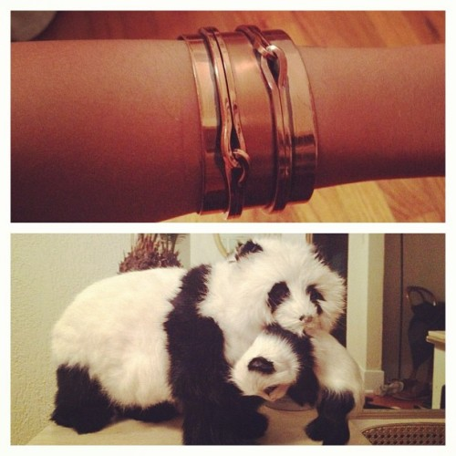 My friends bring me fun presents to work: vintage Renoir cuff & fur pandas (Taken with instagram)