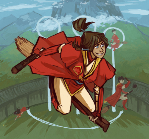 i woke up this morning thinking about what quidditch position korra would play if everyone in avatar was wizards and then i drew it and then got… carried away also i didn't realise the fire ferret colours were so close to airbender monk colours until i made them wear capes, NEAT