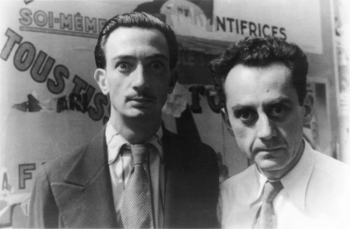 fuckyeahhistorycrushes:  Just Salvador Dali and Man Ray doing some crazy-wild eyes. Scary-cute.