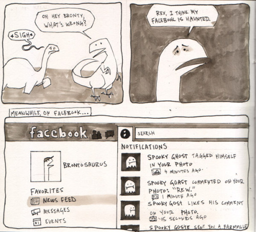 "mcthrill:  A ghost on facebook?! This is for Hannah and her mysterious ""Rew"" comment.  rew"