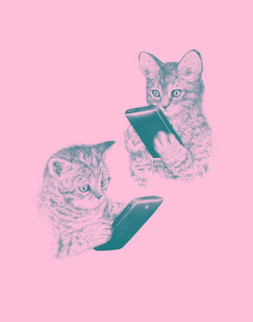 cassket:  Kittens Texting by Laser Bread on Flickr.