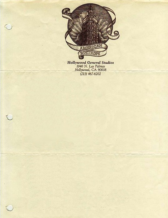 American Zoetrope, 1980 | Source Letterhead once used by Francis Ford Coppola's film studio, American Zoetrope.