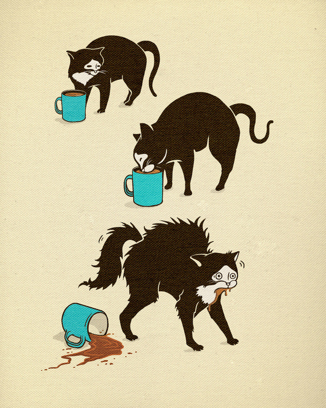 ianbrooks:  Coffee Cat by Jamie Boots Marshall Prints available at society6 or in shirt flavor at bootstees. Be honest: you're jealous of this cat.  Artist: twitter / facebook